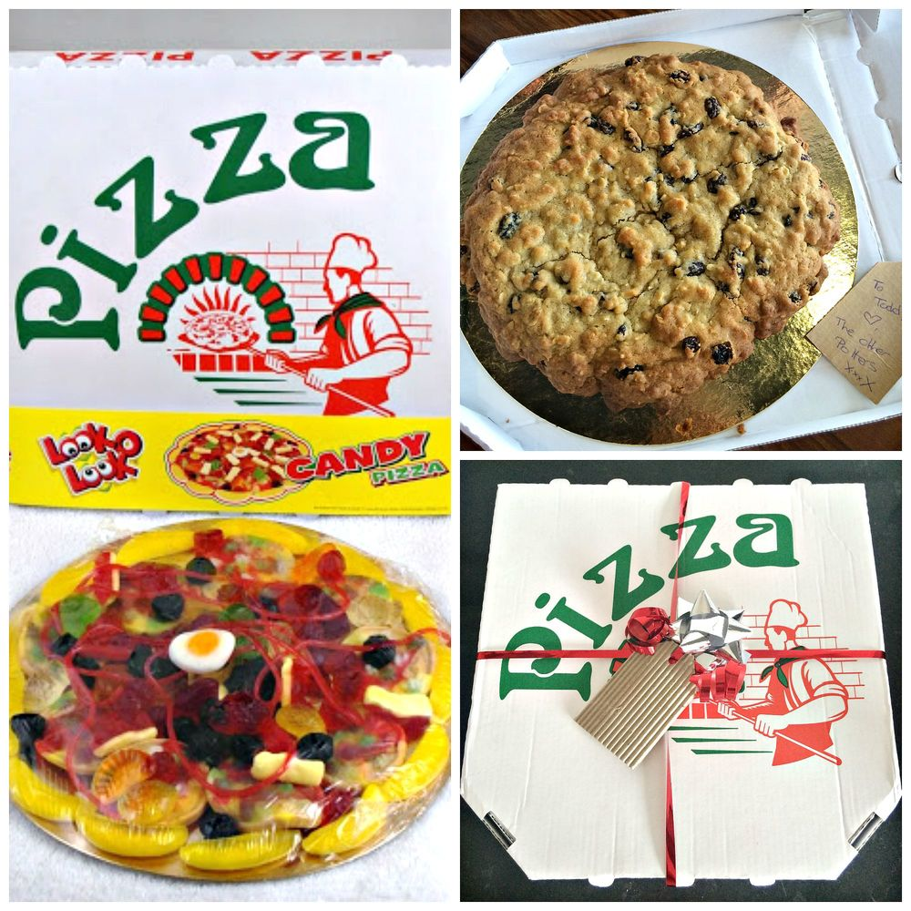 The original sweet pizza and box... transformed into a fun gift for a friend