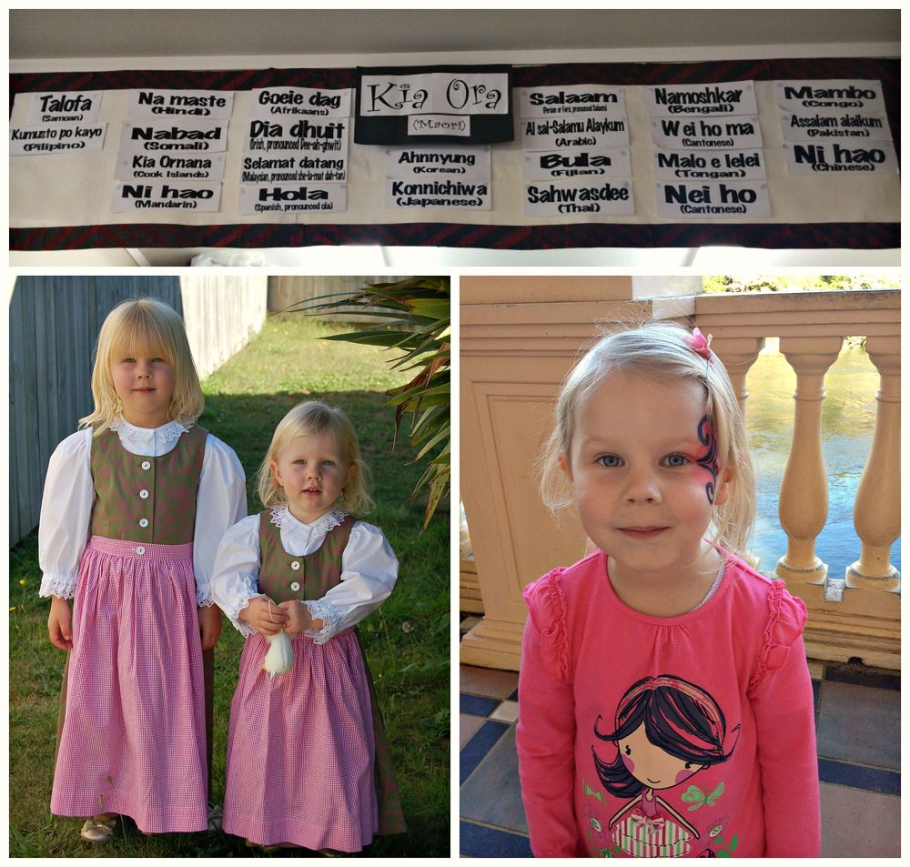 Global greetings, Austrian dresses for Culture Day and Matariki celebration face painting