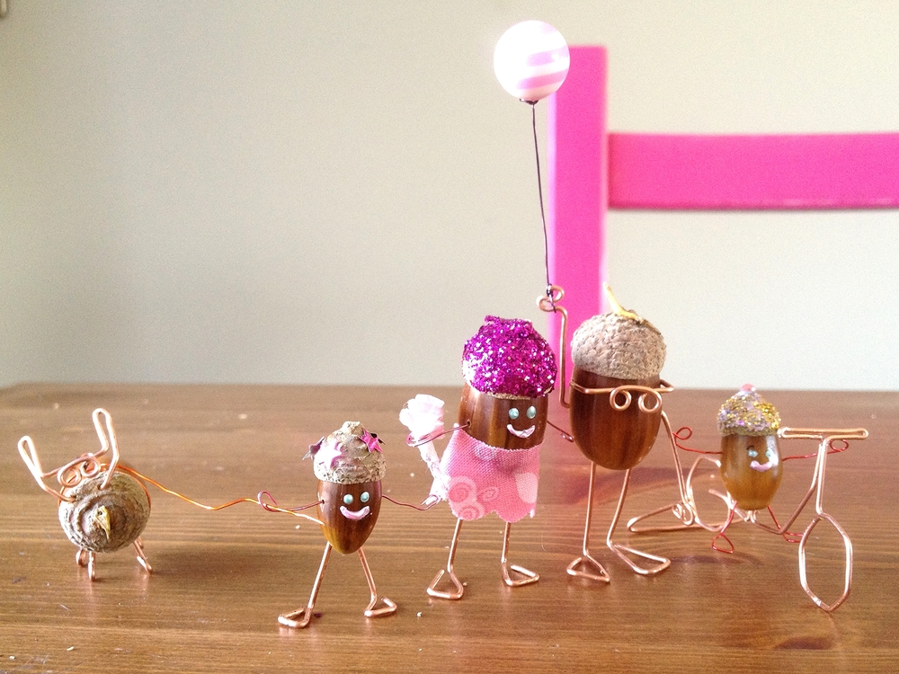 A previous school holiday acorn craft