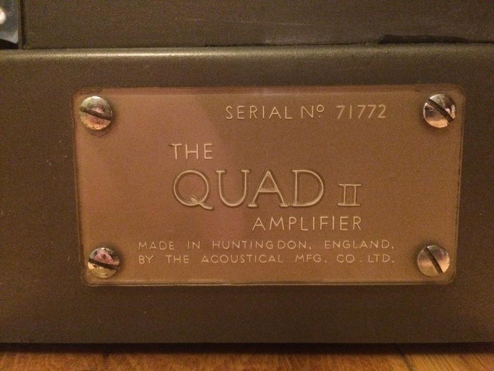 The Quad plaque, including serial number
