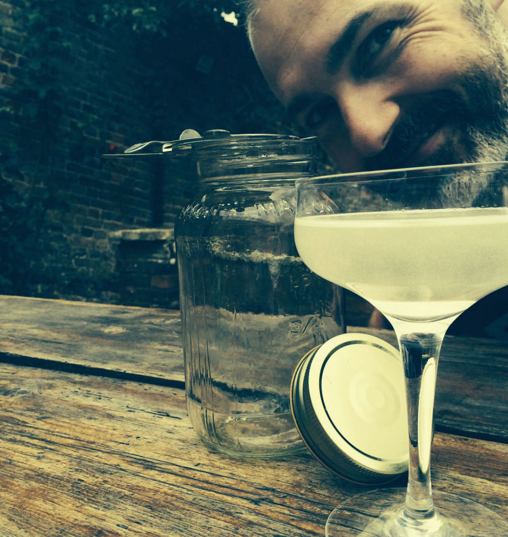 Dan with Yerburgh's signature cocktail The Polish Vesper. 2 Shots of Jam Jar Gin, 1 shot of Zubrowka, ½ shot of Vermouth preferably Lillet Blanc.