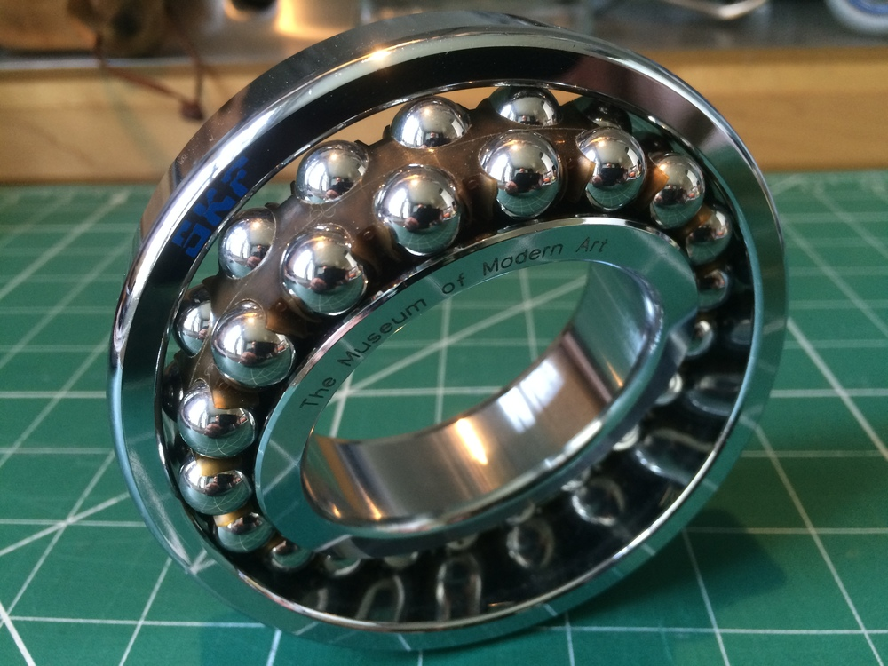 MOMA ball bearing paperweight. Sven Wingquist's self-aligning ball bearing, made in Sweden by SKF, the original manufacturer.