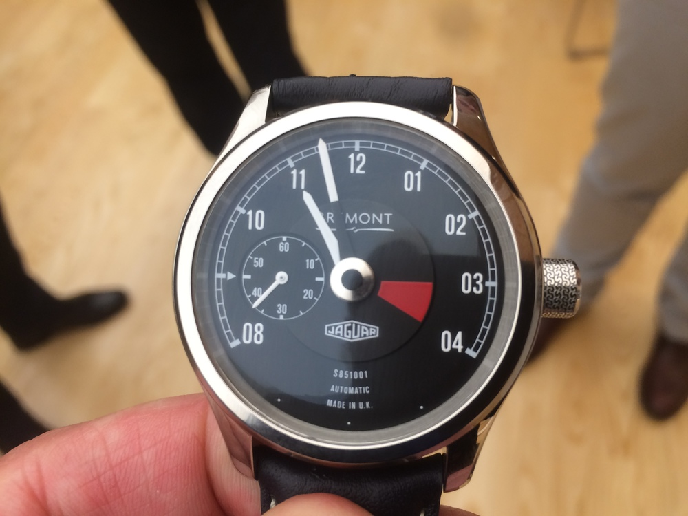 Bremont special edition watch, with the face based on the tachometer, and Dunlop tyre tread etched onto the crown.