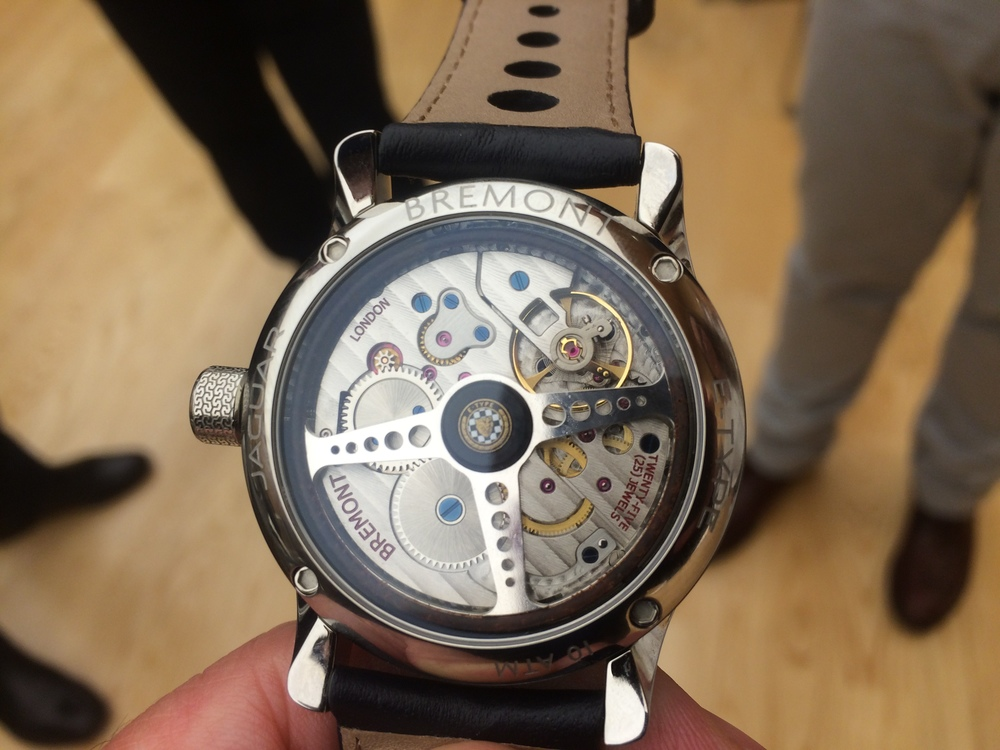 Bremont watch has Jag steering wheel as rotor of automatic winding mechanism, and Jaguar leather strap.