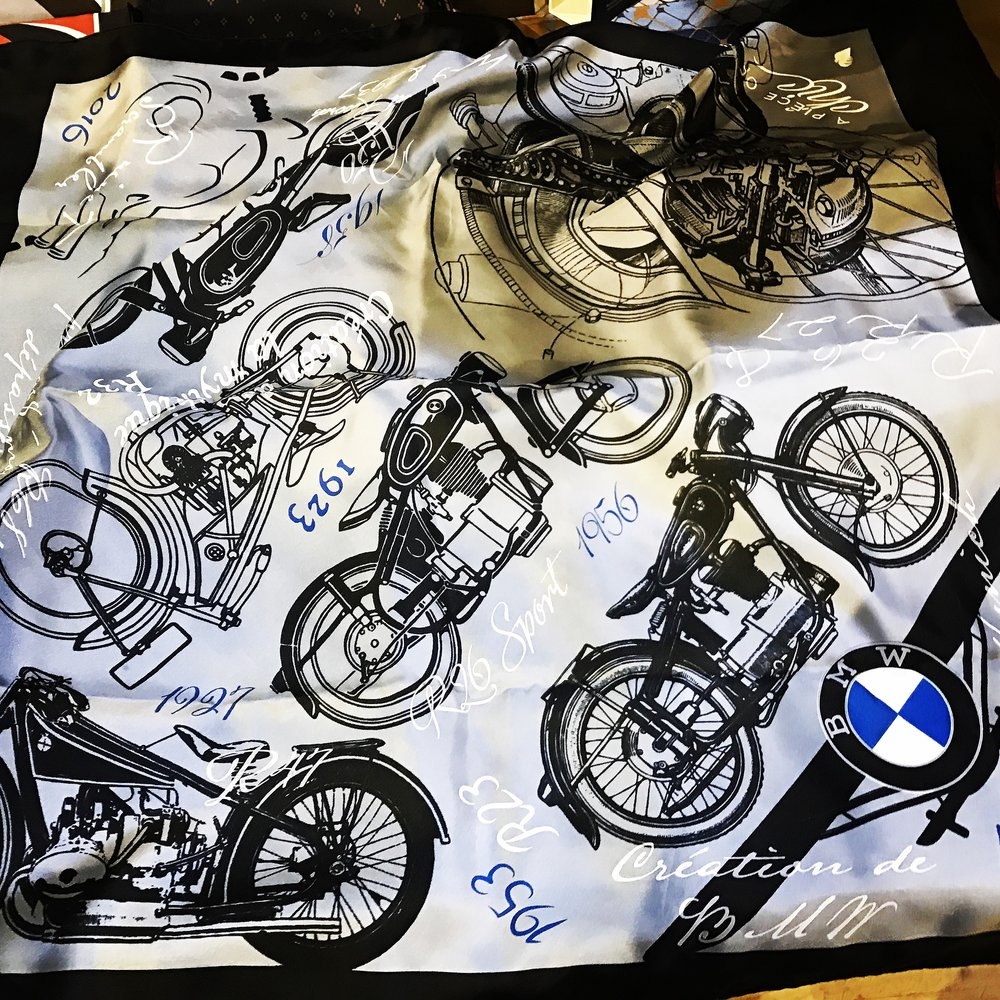 Detailed hand silk screen printed scarf for BMW Motorrad