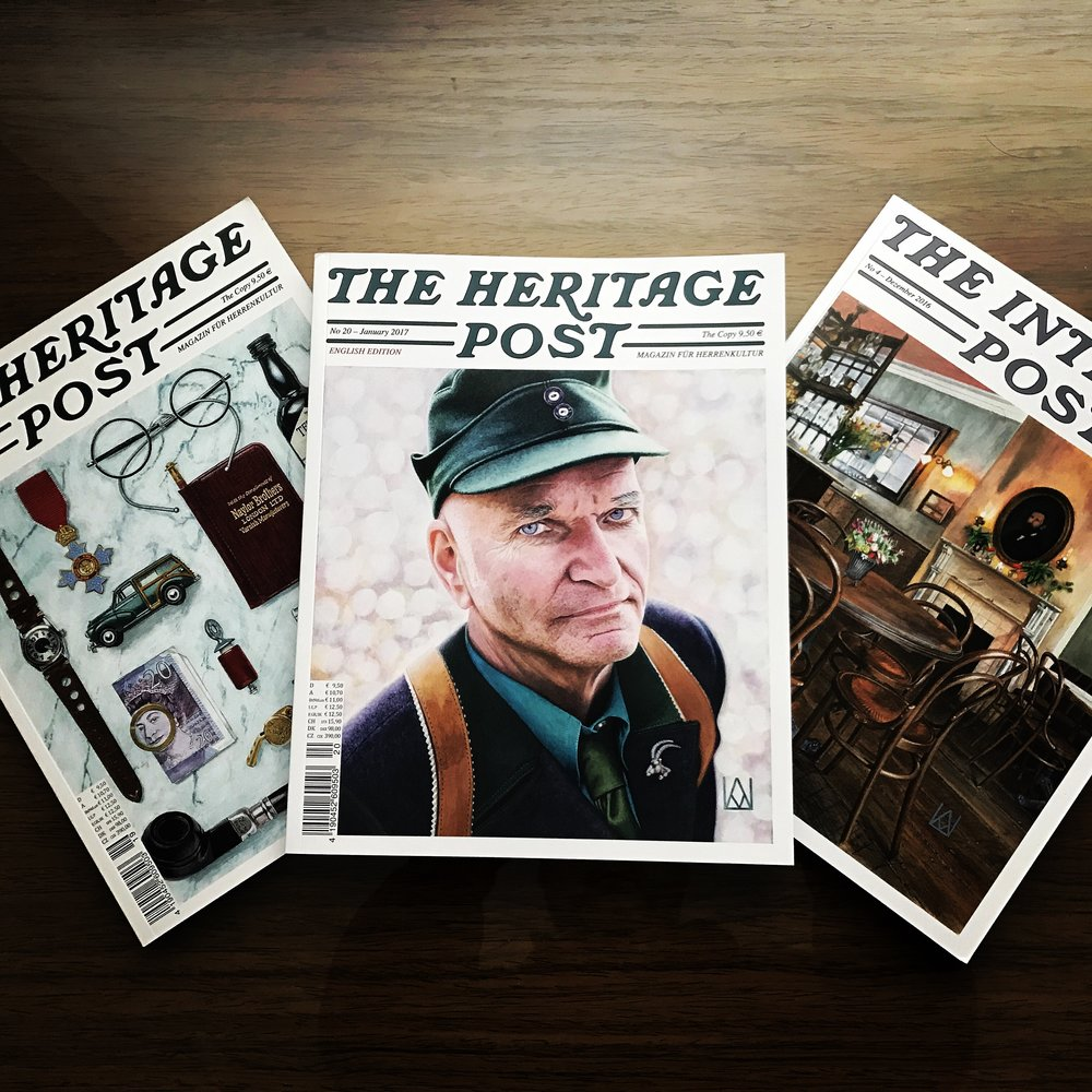 The Heritage Post from left, English Edition, January edition with Florian Schneider founder of Kraftwerk on the cover, The Interior Post