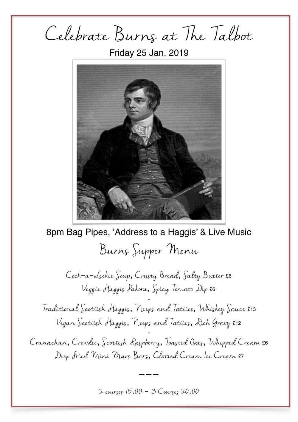 Burns night menu 2019