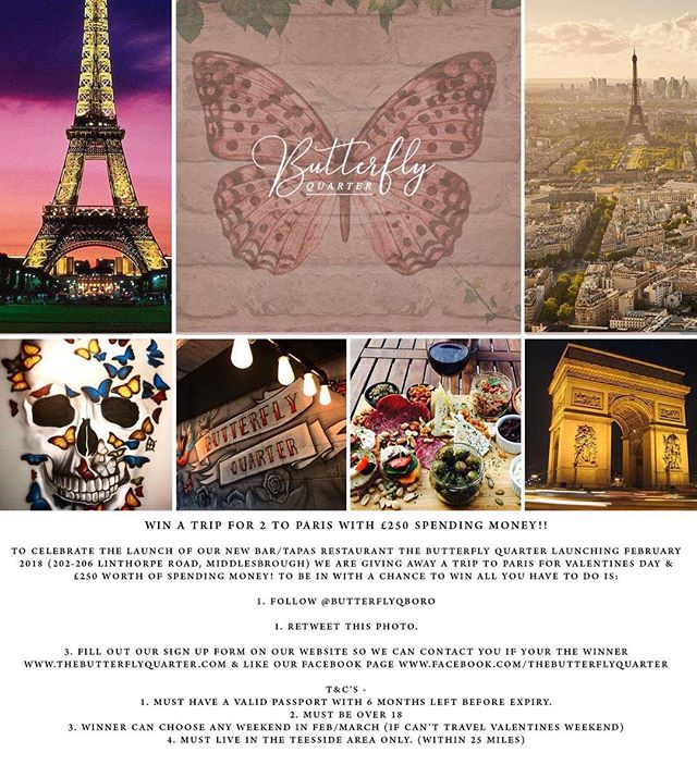 Head over to The Butterfly Quarter Facebook page where we are giving away a FREE TRIP TO PARIS with £250 spending money! @butterflyqboro