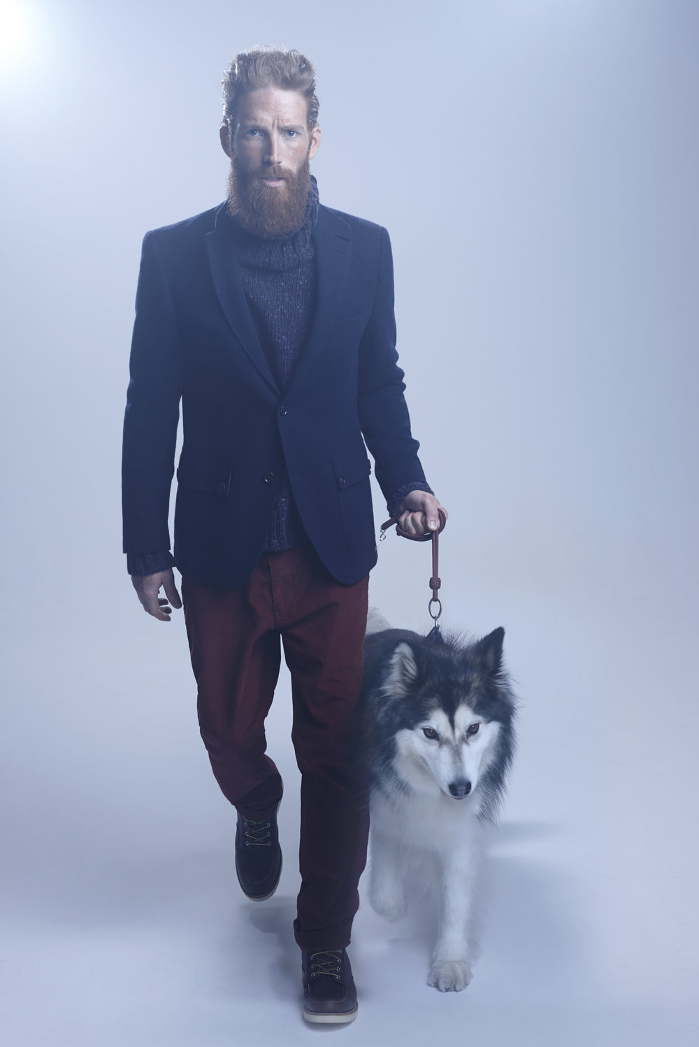 John Lewis and Co. Abraham Moon Vintage Knit Blazer, Navy; 'Donegal' Roll Neck, Purple; 'McAvoy' Twill Trousers, Red.jpg