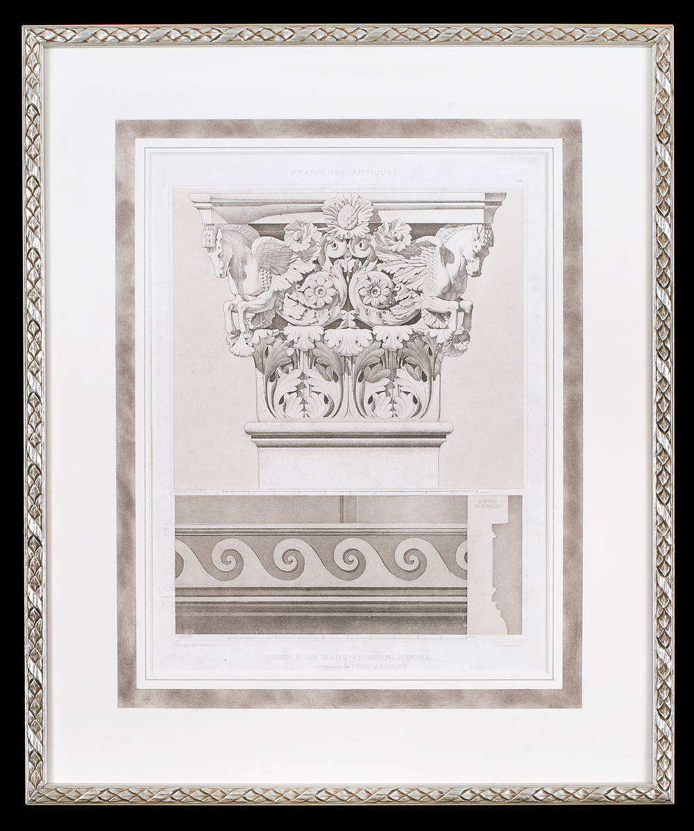 This antique architectural design print is hinge mounted to a rag mat that has been hand painted with a decorative panel. Museum glass both protects the print from ultra violet light and is anti- reflective allowing for clear viewing. The frame is silver with an antique pattern.  Photo Credit: Elizabeth LaJeunesse.