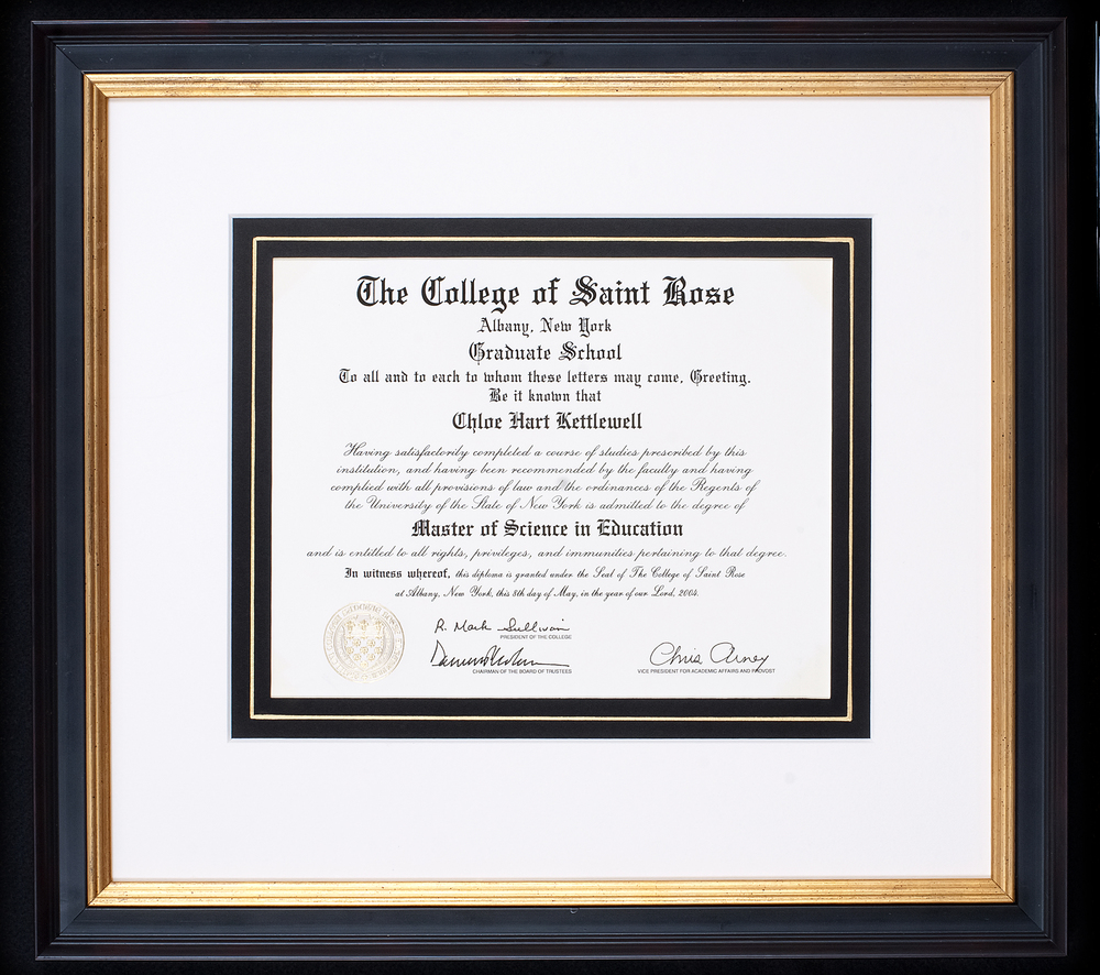 We frame diplomas and certificates using a wide variety of materials, incorporating school colors and insignias, medals, photos and any other related materials.  Photo Credit: Elizabeth LaJeunesse  .