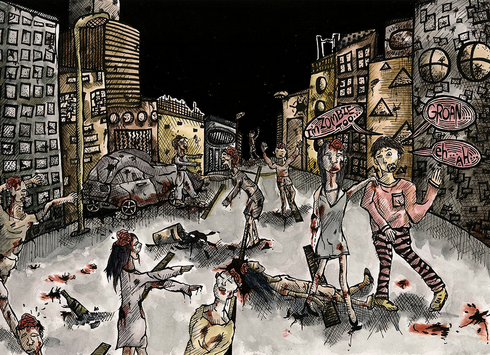 Pretend to be a zombie and deceive other zombies when the whole city is infected.