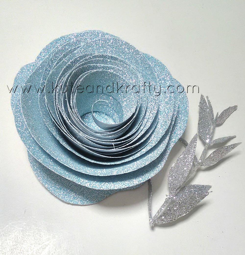 Blue Glitter Paper Flower