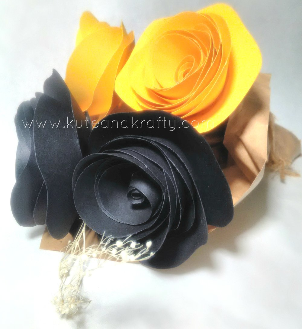 Medium Custom black & yellow bouquet  This bouquet is available on our   Etsy   page.