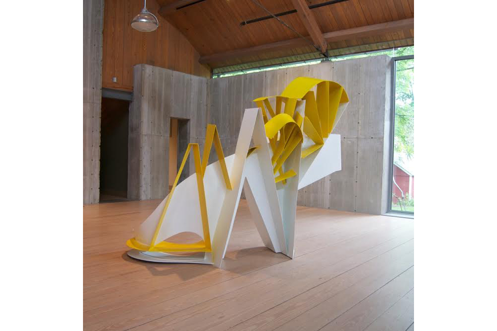Yellow and White Diagnol  Aluminum 83 x 96 x 44 inches