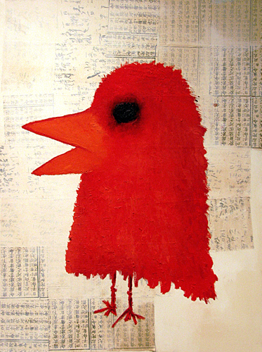Red Kanji Bird,  2007 Oil on canvas w/newspaper 40 x 30 inches