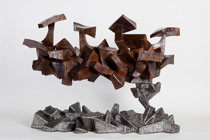 Parallel Worlds,  2009 Cast bronze and steel 42 x 26 x 16 inches