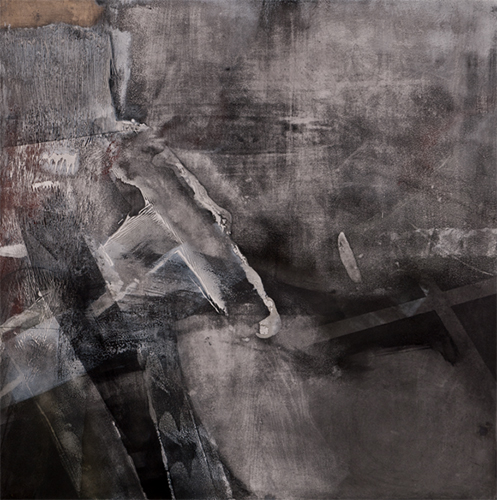 High-Low Matter 1,  2011 Liquid graphite, mineral pigments, silver powder, oyster shell gesso on panel 48 x 48 inches