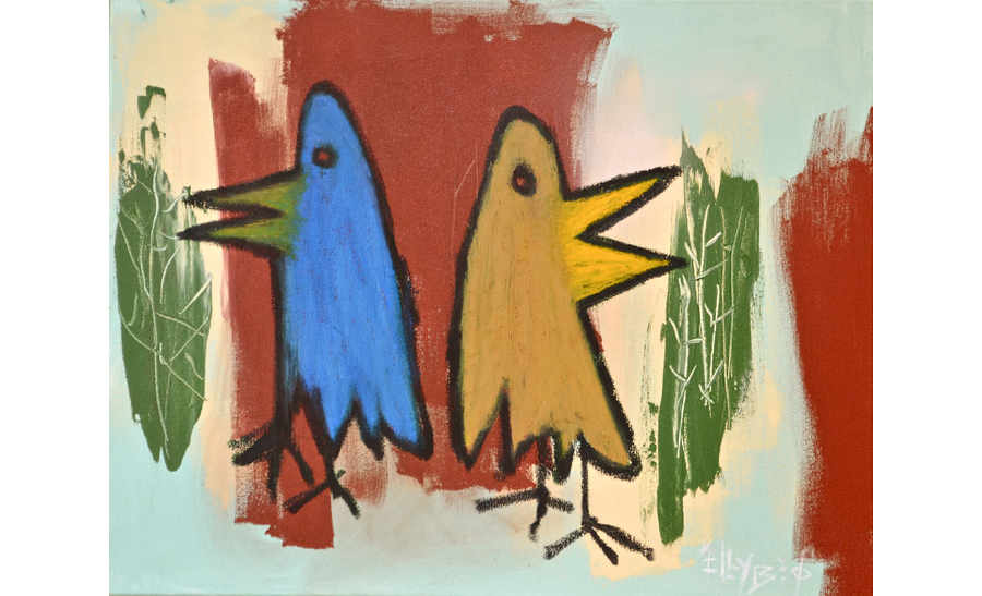 Yard Birds 9,  2012 Oil on canvas 22 x 28 inches