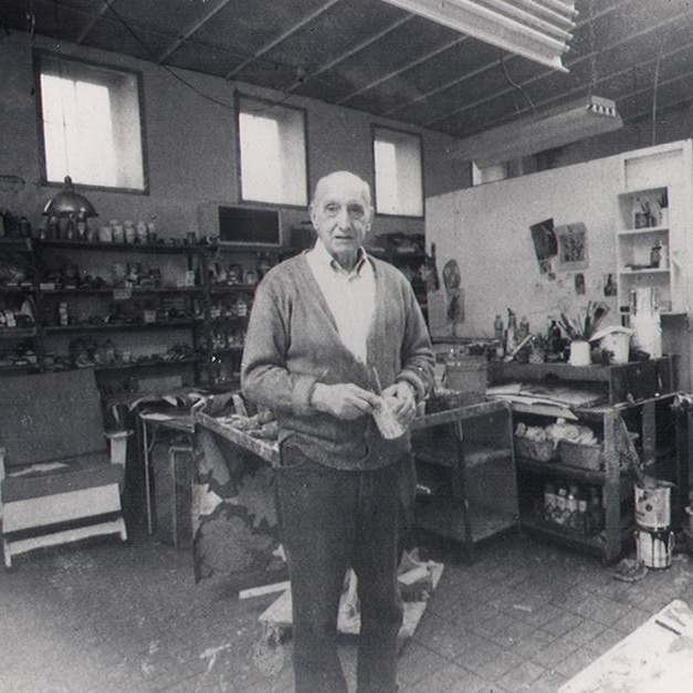 New York School painter George McNeil in his studio