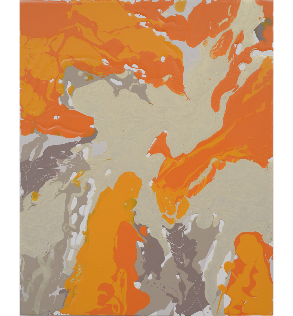 goldorangegreybrown pour , 2014 Poured latex enamel on board 20 x 16 inches
