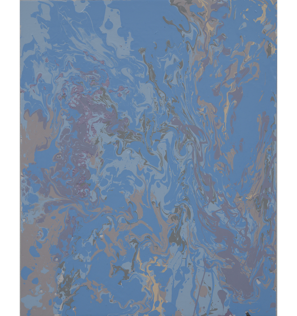 bluebeigeviolet pour , 2014 Poured latex enamel on board 20 x 16 inches