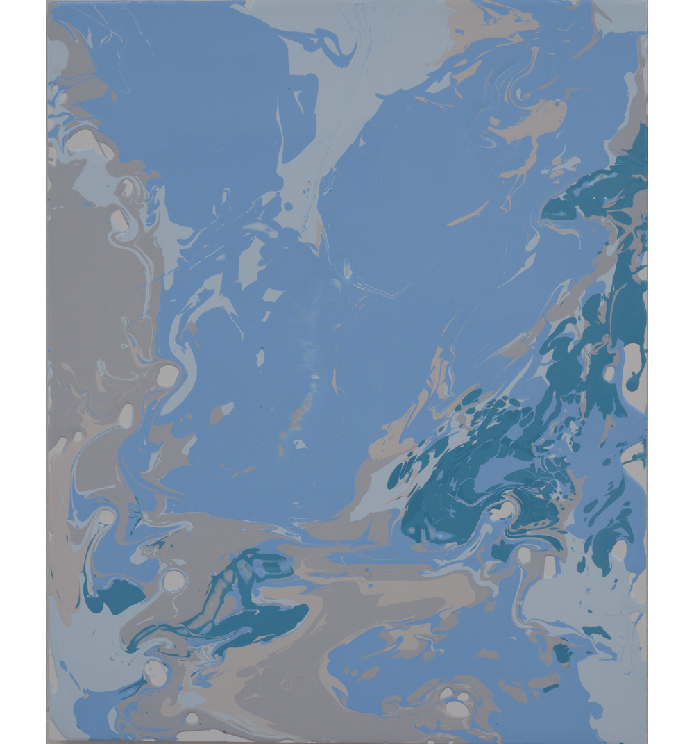bluebeigegreen pour , 2014 Poured latex enamel on board 20 x 16 inches