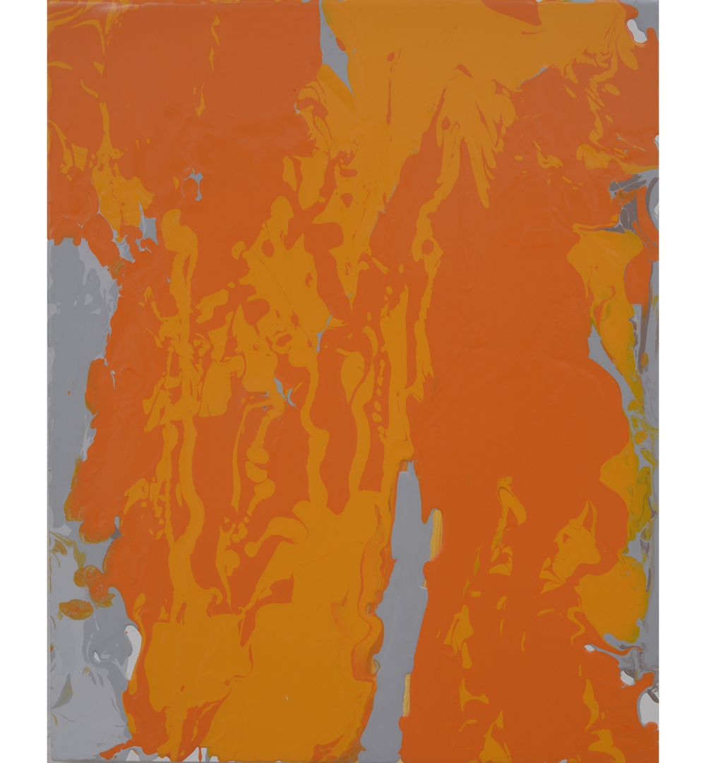 orangegrey pour , 2014 Poured latex enamel on board 20 x 16 inches