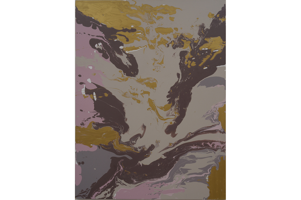 goldgreygreenbrownpink pour,  2014 Poured latex enamel on board 48 x 36 inches