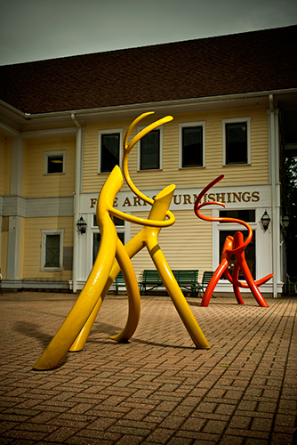 Steel Roots   Steel, red enamel paint, yellow enamel paint Photo © KENEK Photography