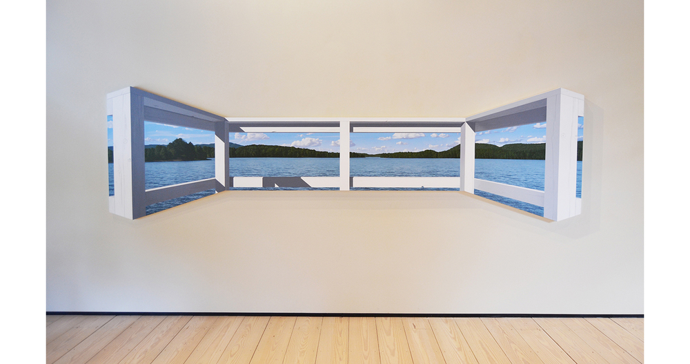 Between the La  kes (Twin   Lakes) , 2012 Acrylic on canvas 44 x 158 inches