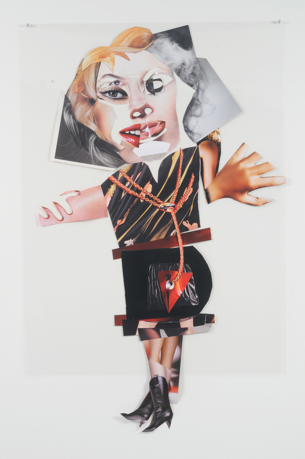 Secret Sylvia (Front),  2007 Collage on acetate 44 x 30 inches