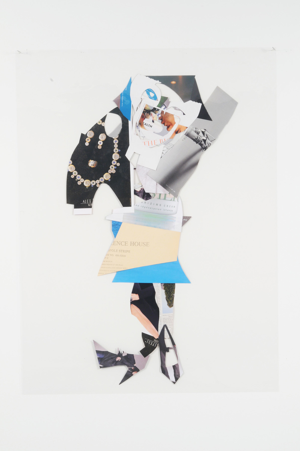 Cobble Walker (Back),  2008 Collage on acetate 44 x 30 inches