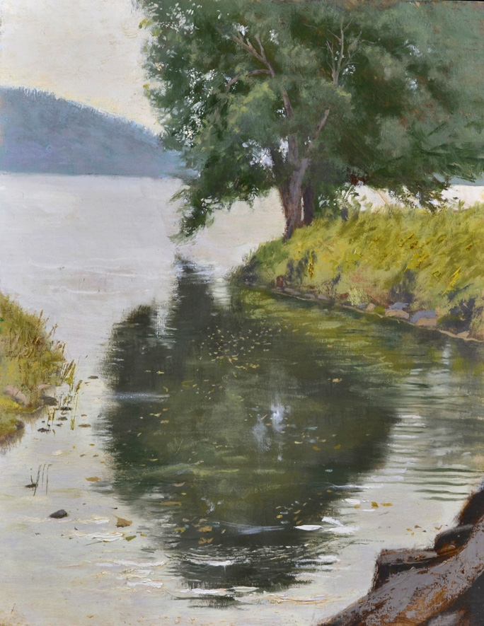 Billie's Inlet, Lake Waramaug,  2016 Oil on canvas 18 x 14 inches