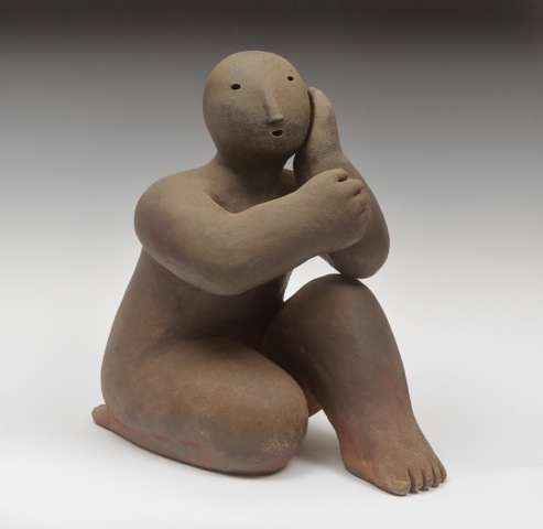 kneeling on one knee  wood fired ceramic 17 x 10 x 14 inches