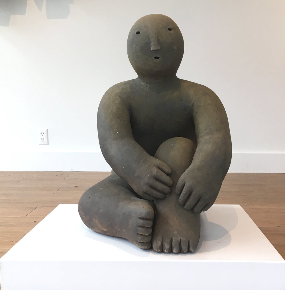 sitter with one knee up  wood fired ceramic 26 x 25 x 17 inches