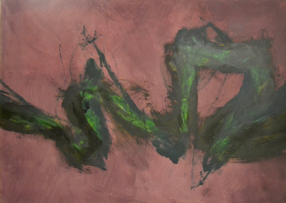 Plumed Purple of Thunder , 1991 Canvas on acrylic 52 x 72 inches