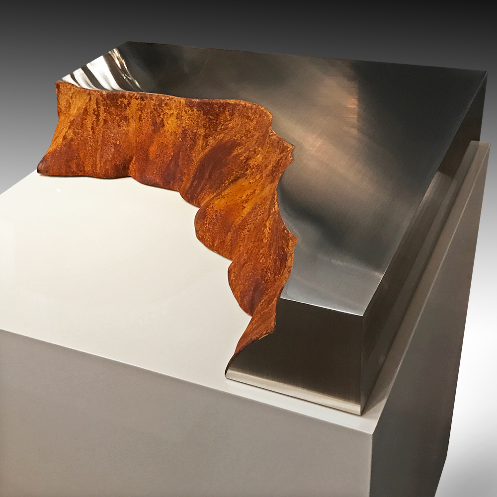 Cliff , 2017 CorTen and stainless steel 5 x 27 x 24 inches