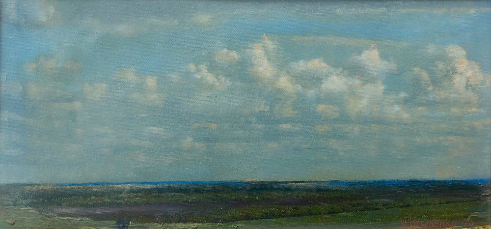 View from Konteevo Village , 2006 Oil on canvas 6 1/4 x 13 inches