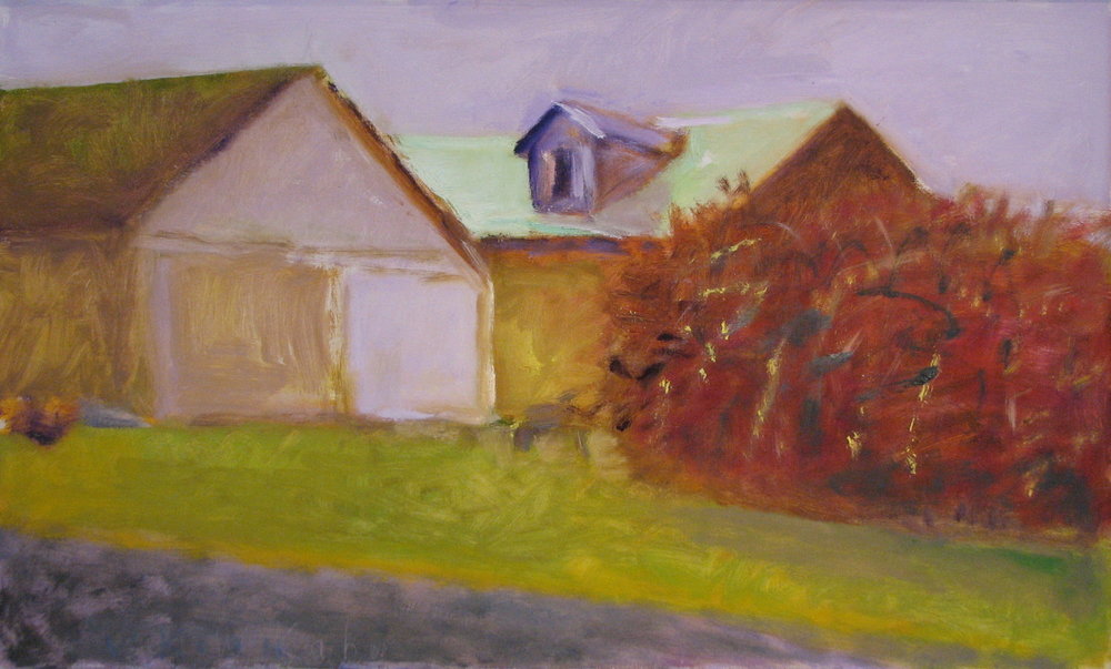 Barns in Wainscott , 2004 Oil on canvas  20 x 32 inches