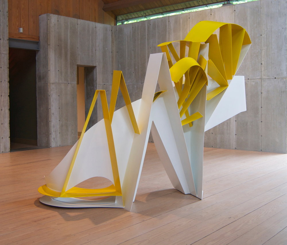 Yellow and White Diagonal Aluminum  83 x 96 x 44 inches