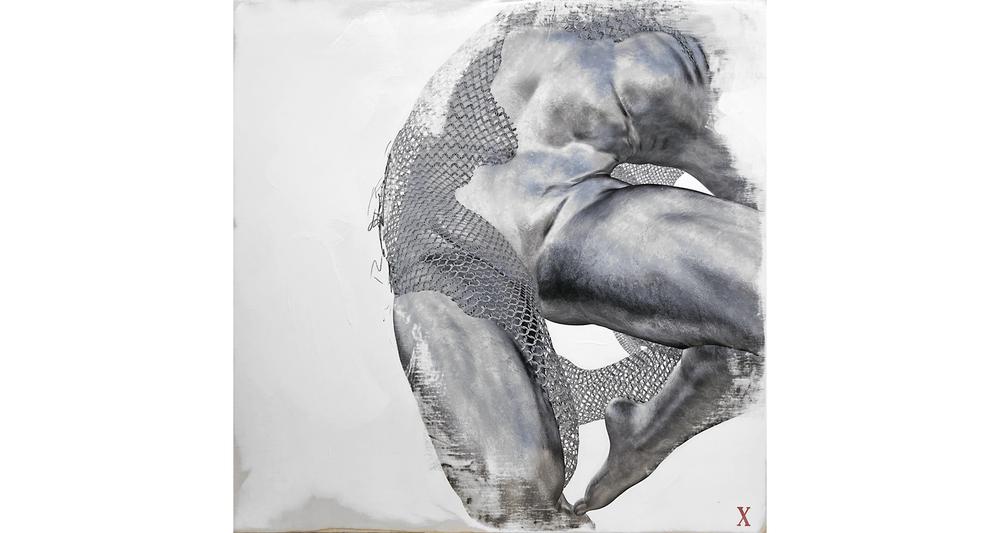 Power , 2018.  Gesso, graphite, 3D render on braced Birch panel 30 x 30 inches