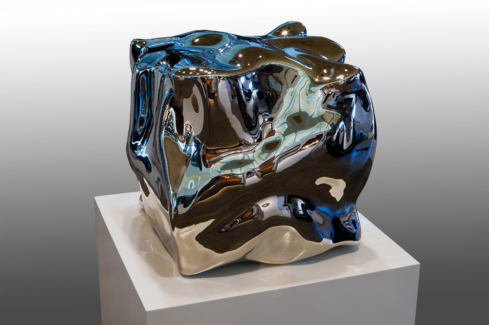 Liquid State Inhale , 2014 High Chromium Stainless Steel 22h x 22w x 22d inches