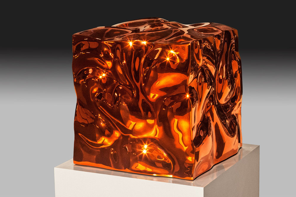 Liquid State (Orange) , 2015 High Chromium Stainless Steel / Transparent Color 19h x 19w x 19d inches