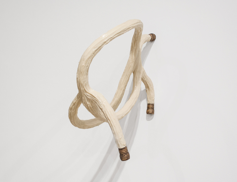 "Water hose, Knot 2015 20"" x 11"" x 19.5"" Rope, rubber, aluminum, plastic, pigment, oil-based paint"
