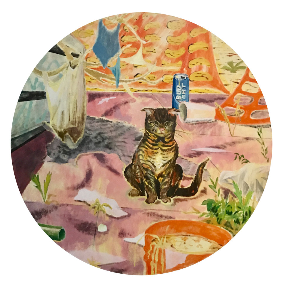Yours Truly, 140 cm diameter, oil on canvas, 2016