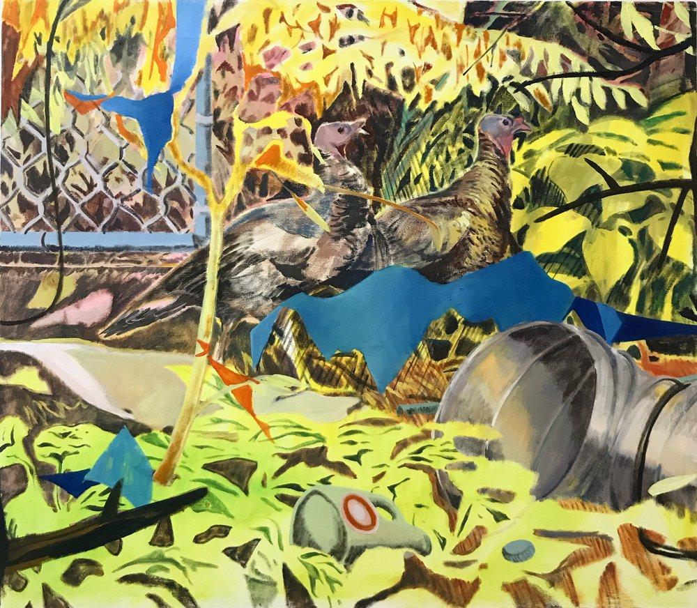 Gamebirds, oil on canvas, 160x140cm, 2018