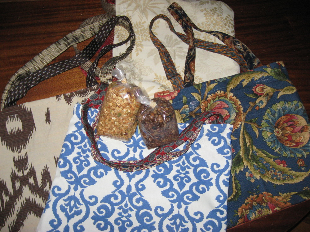 Handmade tote bags, granola and roasted coffee beans!