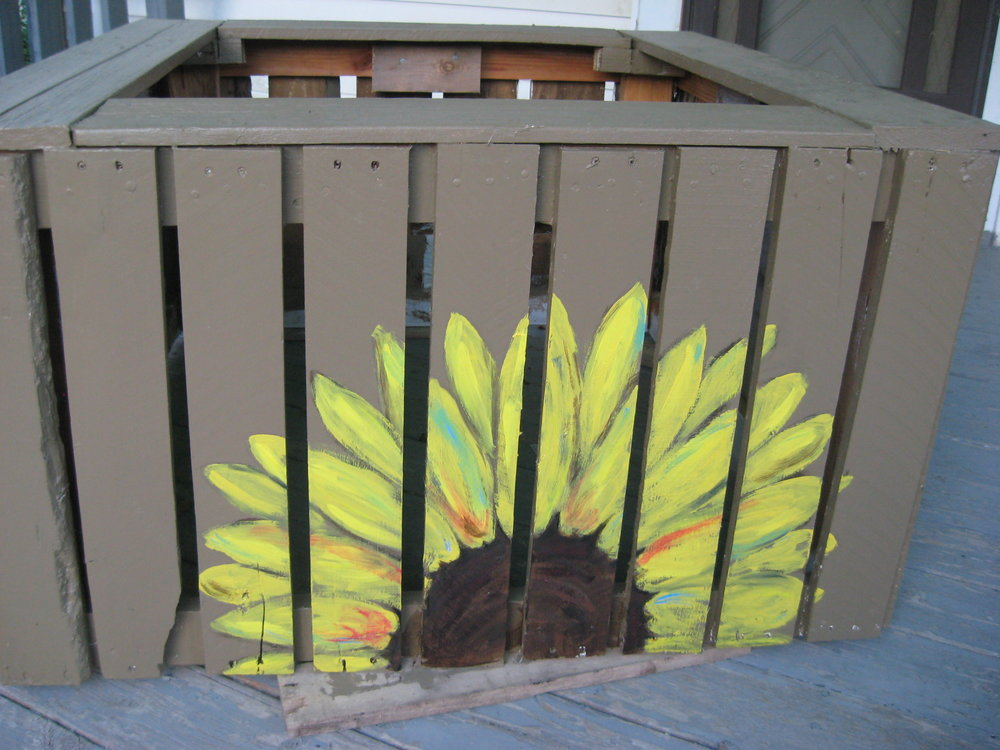 The newest box - awaiting delivery. Thanks to Kristin for painting the sunflower!