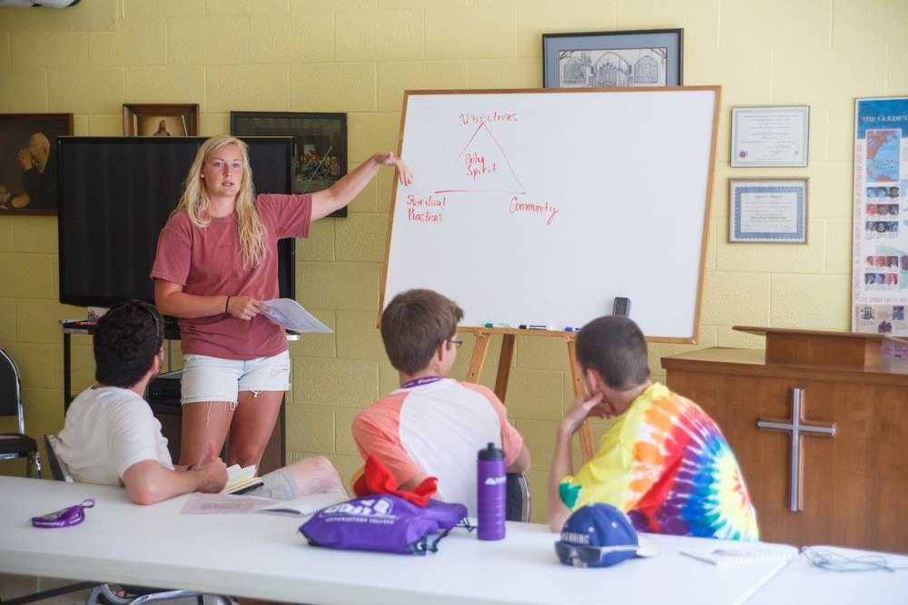Here's AJ leading one group during a workshop.